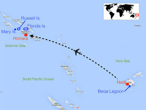 Route map of the Fiji - Solomon Islands tour program Coral Triangle Adventures