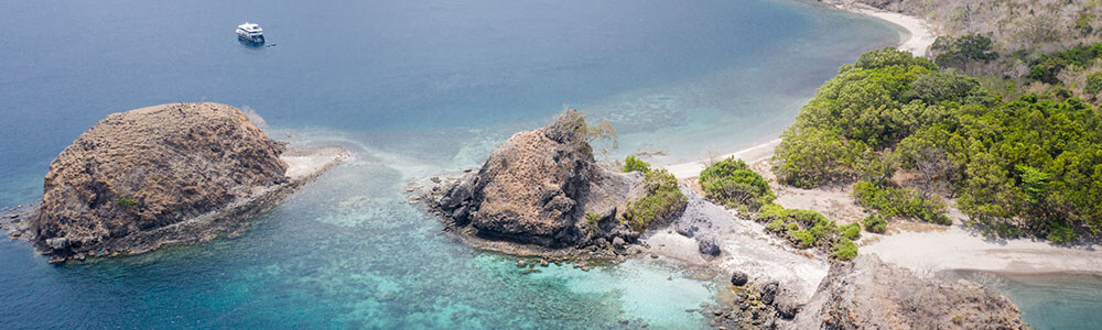 Aerial view of Rinca Island, Komodo National Park snorkeling tour coral triangle adventures