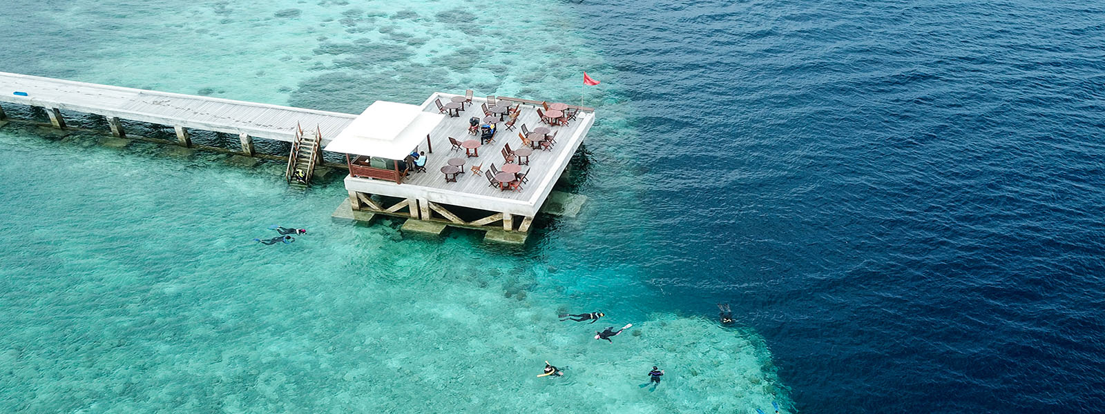 Aerial of snorkelers at wakatobi